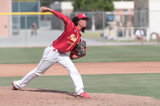 Emiliano Torres pitches for Palm Desert in a CIF playoff game against Gahr, Palm Desert, Calif., May 2, 2019.