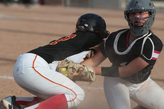 Palm Desert gets tagged out at home by Etiwanda in a CIF playoff game, Palm Desert, Calif., May 2, 2019.