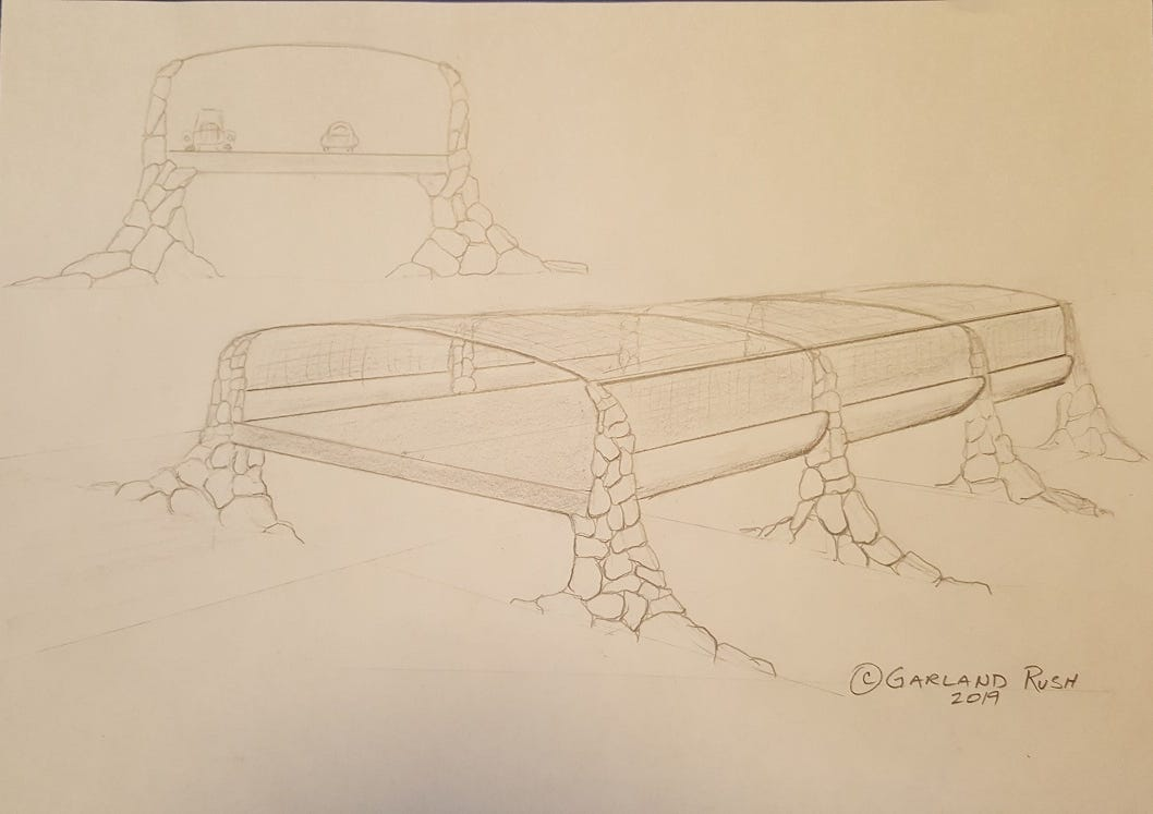 Garland Rush of Desert Hot Springs drew this sketch of his idea for a protected crossing over Coachella Valley routes that frequently close during weather or blow-sand events.