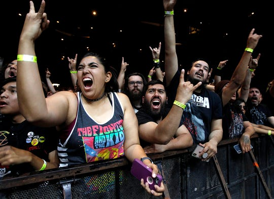 Fans welcome Slayer during their performance at Ak-Chin Pavilion in Phoenix on May 2, 2019.