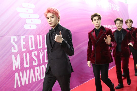South Korean boy band NCT 127 attend the Seoul Music Awards on January 15, 2019 in Seoul, South Korea.