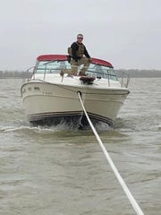 """The vessel """"Going Coastal"""" was rescued by Customs and Border Protection AMO agents Thursday after the boat crashed into the Port Clinton drawbridge."""