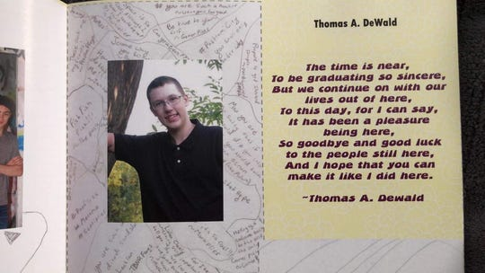 A photo of Thomas Dewald in the Millville high school yearbook.