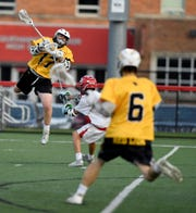 Red Lion's Trevor Rider leaps and shoots against  Susquehannock, Thursday, May 2, 2019.