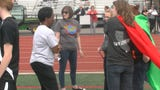 York native and Special Olympics legend Loretta Claiborne spoke prior to a Unified track meet between Central York, Dallastown and York Tech on Friday.