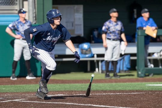 Nevada's Dillan Shrum is tied for the Mountain West lead with 10 home runs this season.