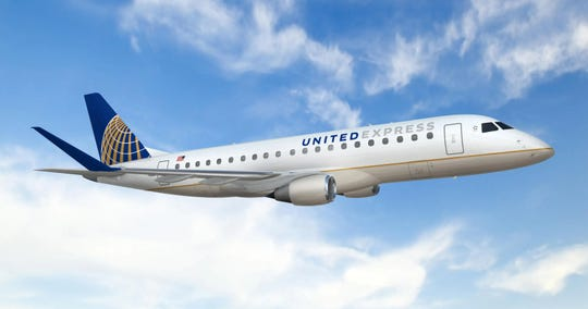 A United Express Embraer 175s jet.