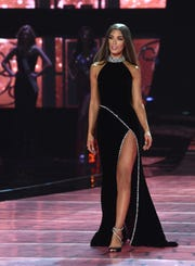 Miss Kansas Alyssa Klinzing participates in the evening gown competition during the 2019 Miss USA pageant in the Grand Theatre at the Grand Sierra Resort in Reno on May 2, 2019.
