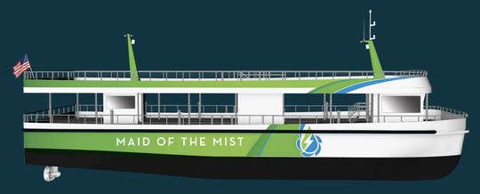 A rendering of the new Maid of the Mist in Niagara Falls shows how it will be electric powered starting in September 2019.