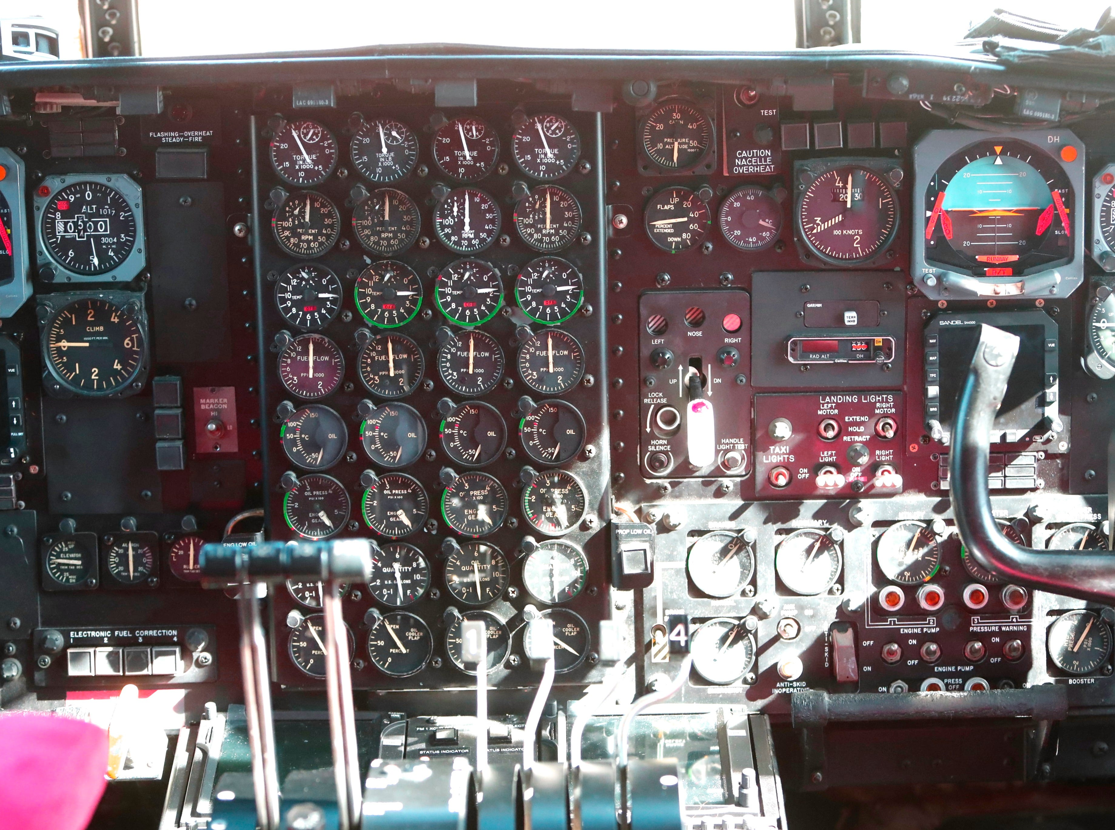 Instrument control panel in the cockpit of a retardant-dropping air tanker.