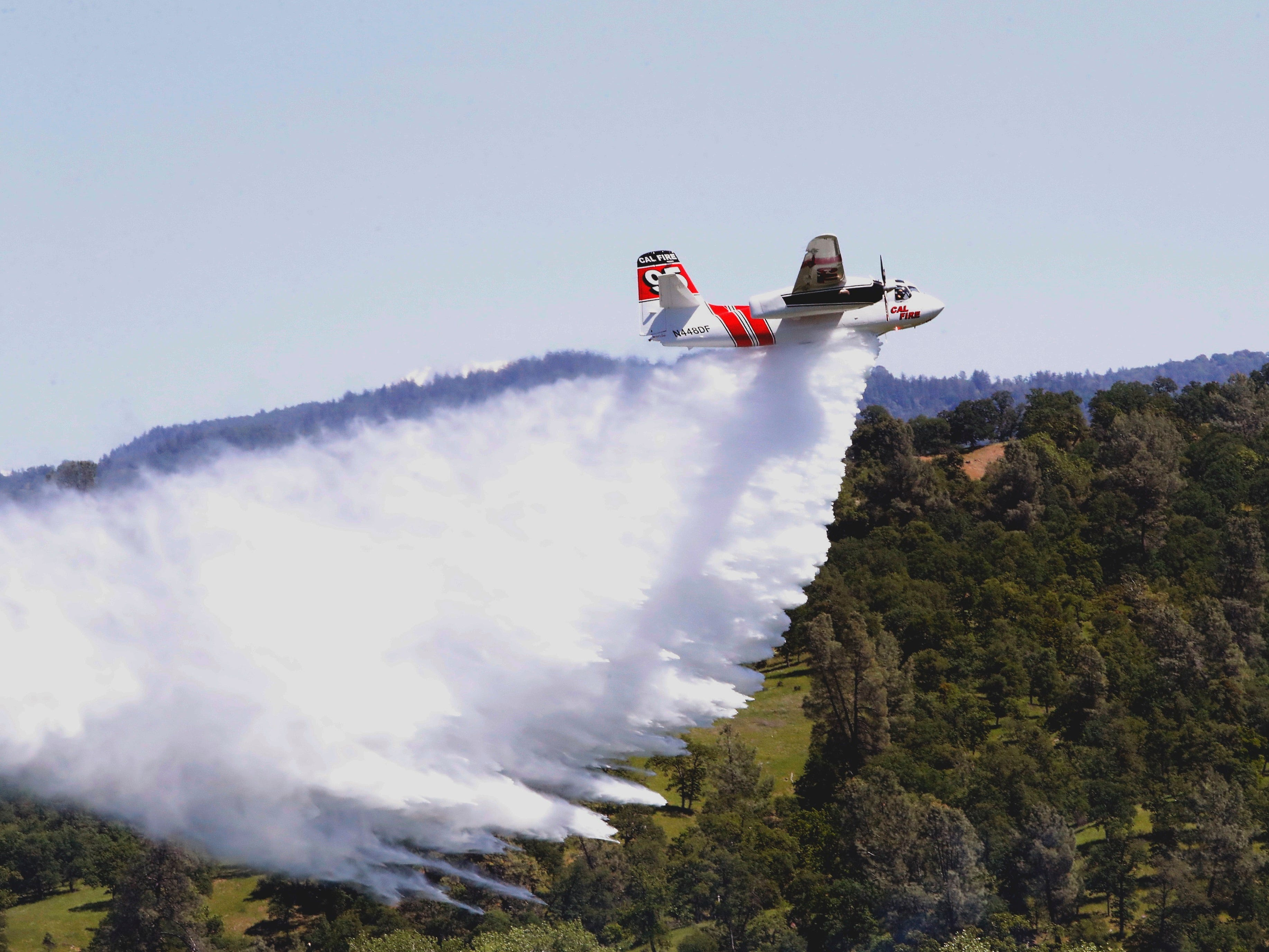The U.S. Forest Service and Cal Fire conducted aerial firefighting training in the skies above Whitmore on May 2, 2019.