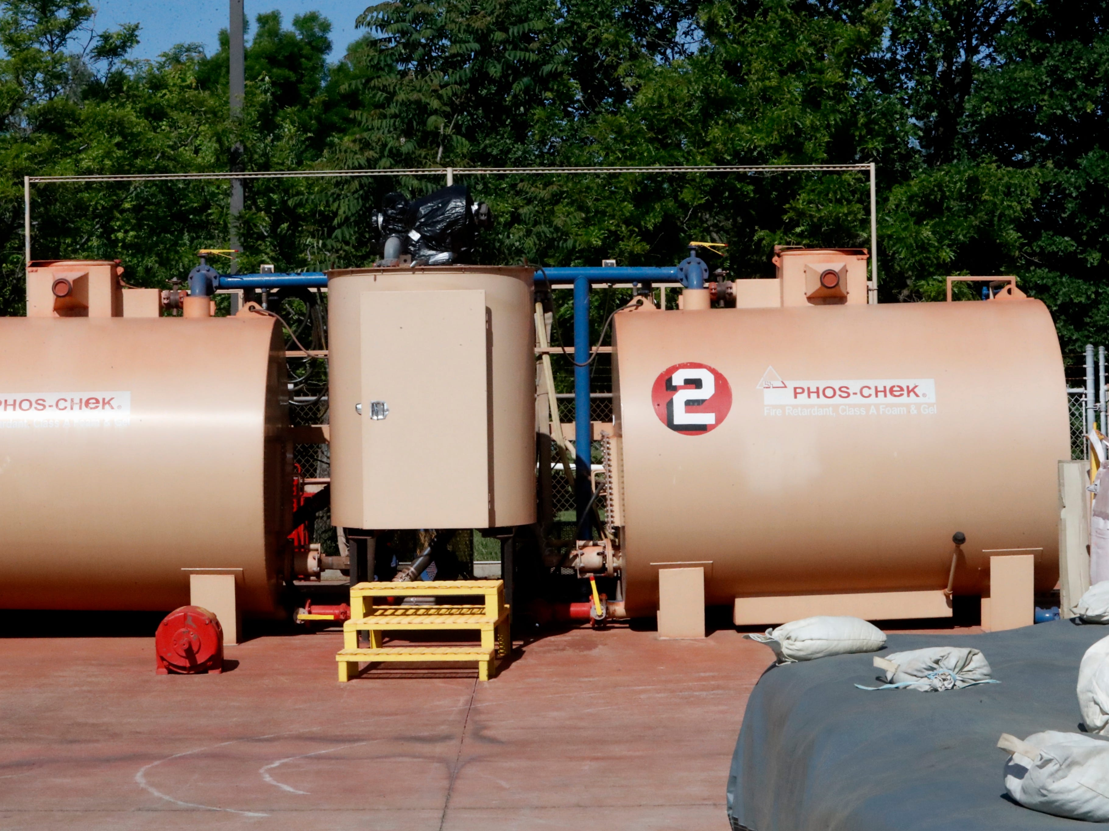 Tanks where fire retardant is mixed.