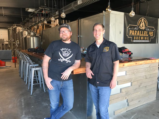 Ryan Booth (left) and Gregory Laird (right) plan to open Parallel 45 Brewing at 240 Monmouth Street in downtown Independence in June. Pictured here on May 30, 2019.