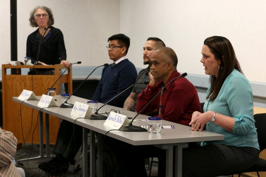 Four of the six Salem-Keizer School Board candidates, Raul Marquez, David Salinas, Satya Chandragiri and Danielle Bethell speak at a forum, hosted by the League of Women Voters of Marion and Polk Counties, at Salem Public Library in Salem on May 2, 2019.