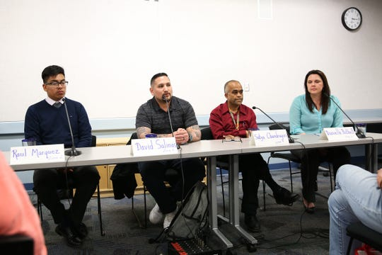 Four of the six Salem-Keizer School Board candidates Raul Marquez, David Salinas, Satya Chandragiri and Danielle Bethell speak at a forum, host by the League of Women Voters of Marion and Polk Counties, at Salem Public Library in Salem on May 2, 2019.