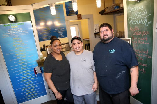 """Owners (from left to right) Sheila Frazier, Augustin """"J"""" Rago  and Tino Land at their restaurant, Azuls Taco House, in west Salem on April 30, 2019."""