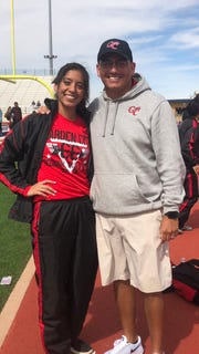 Garden City's Ixchel Sotelo and girls head track coach Ollie Wilburn worked together to get Ixchel back on the track after a knee injury in basketball.