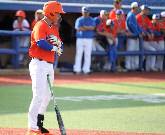 San Angelo Central's Rance Rosas gets ready to step into the batter's box in Game 1 of a bidistrict playoff series against Arlington Lamar at Angelo State University Thursday, May 2, 2019. Rosas is a Baylor University signee known for his blistering speed.