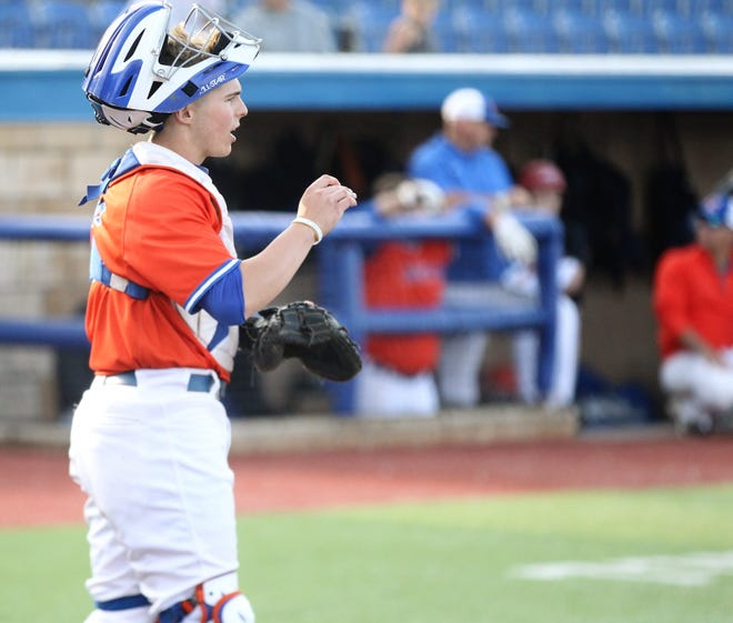 San Angelo Central catcher Nixon Brannan was the battery mate for pitcher Trey Neslage in Game 1 of a bidistrict playoff series against Arlington Lamar at Angelo State University Thursday, May 2, 2019. Neslage threw a no-hitter.