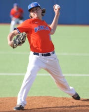 San Angelo Central pitcher Trey Neslage threw his second no-hitter in three weeks in Game 1 of a bidistrict playoff series against Arlington Lamar at Angelo State University Thursday, May 2, 2019. The Bobcats won 10-0.
