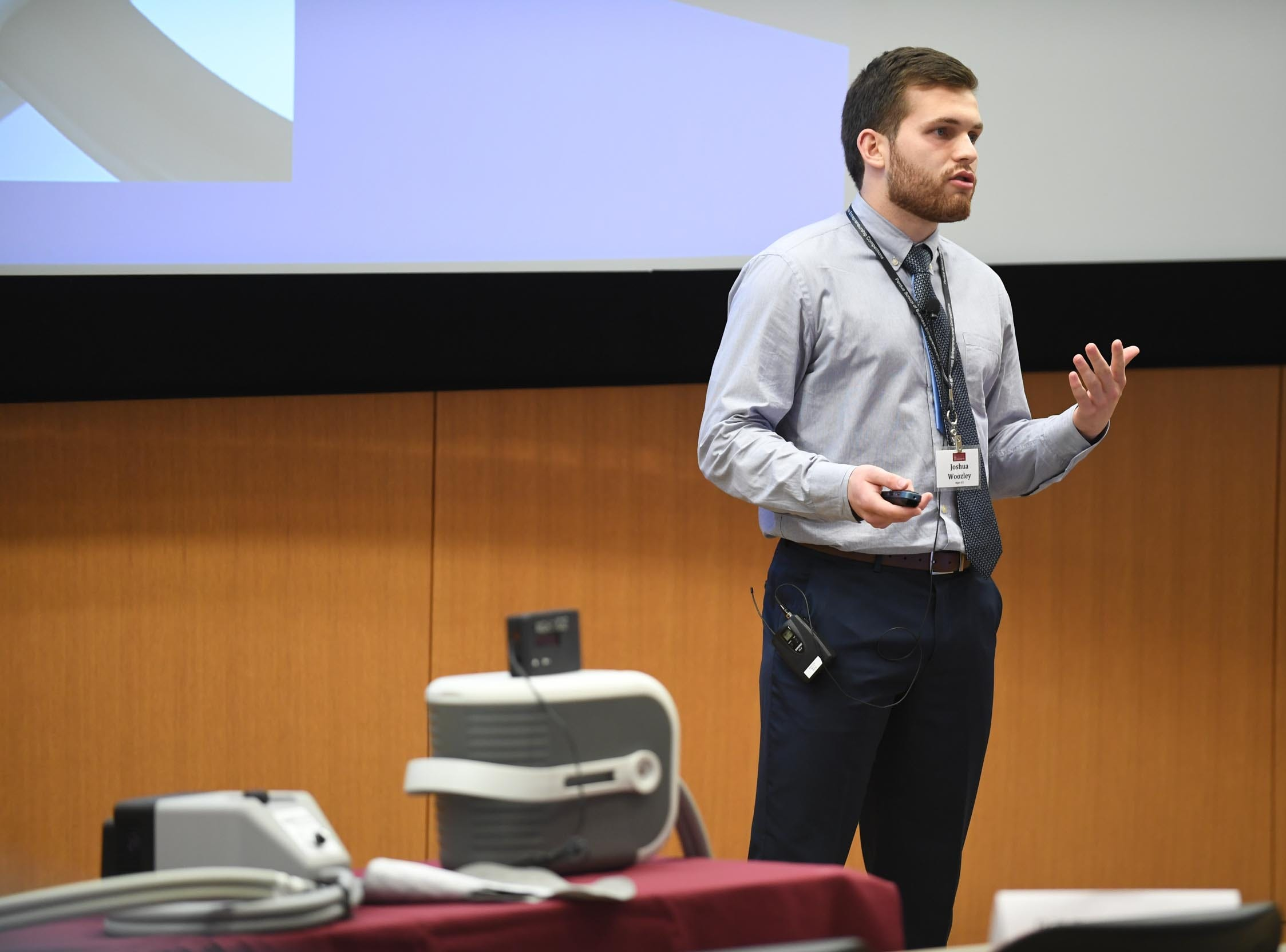Salisbury University Student, Joshua Woozley, presents his invention the NightICE to a group of judges during the Franklin P. Perdue School of Business annual Entrepreneurship Competitions on Thursday, May 2, 2019.