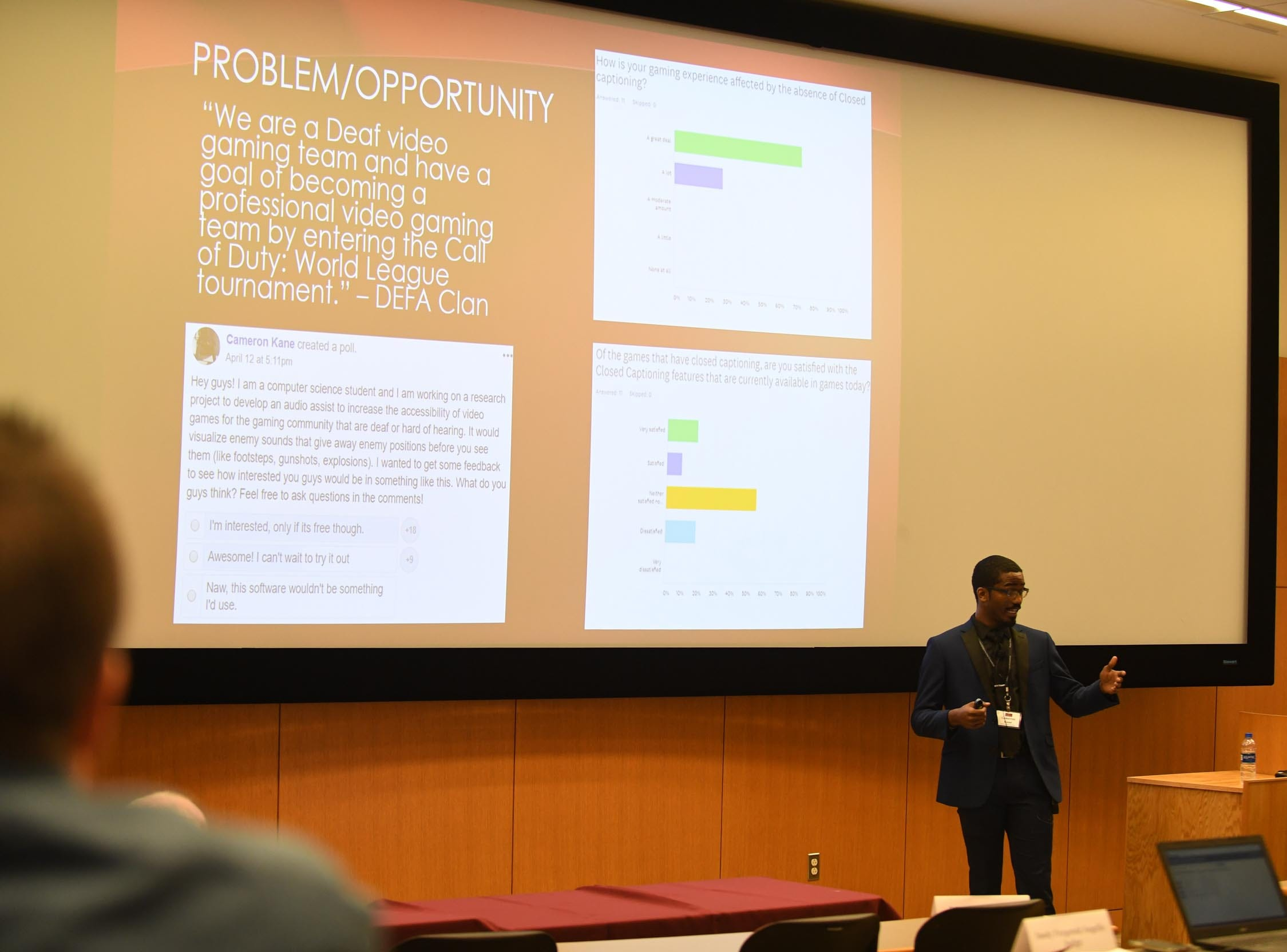 Salisbury University Student, Cameron Kane, presents his invention the Valkyrie Software Solutions to a group of judges during the Franklin P. Perdue School of Business annual Entrepreneurship Competitions on Thursday, May 2, 2019.