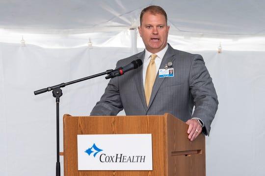 Darren Bass, president of Cox Monett, spoke at Wednesday's groundbreaking for the new hospital
