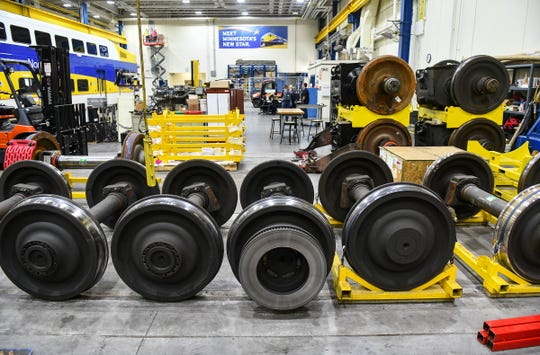 Components are stored for use in Northstar engines and rail cars Friday, May 3, at the Northstar Operations and Maintenance Facility in Big Lake.