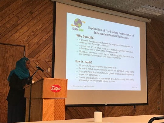 Farhiya Farah presents on her research into food safety performance at Somali restaurants for the Minnesota Environmental Health Association in 2017.