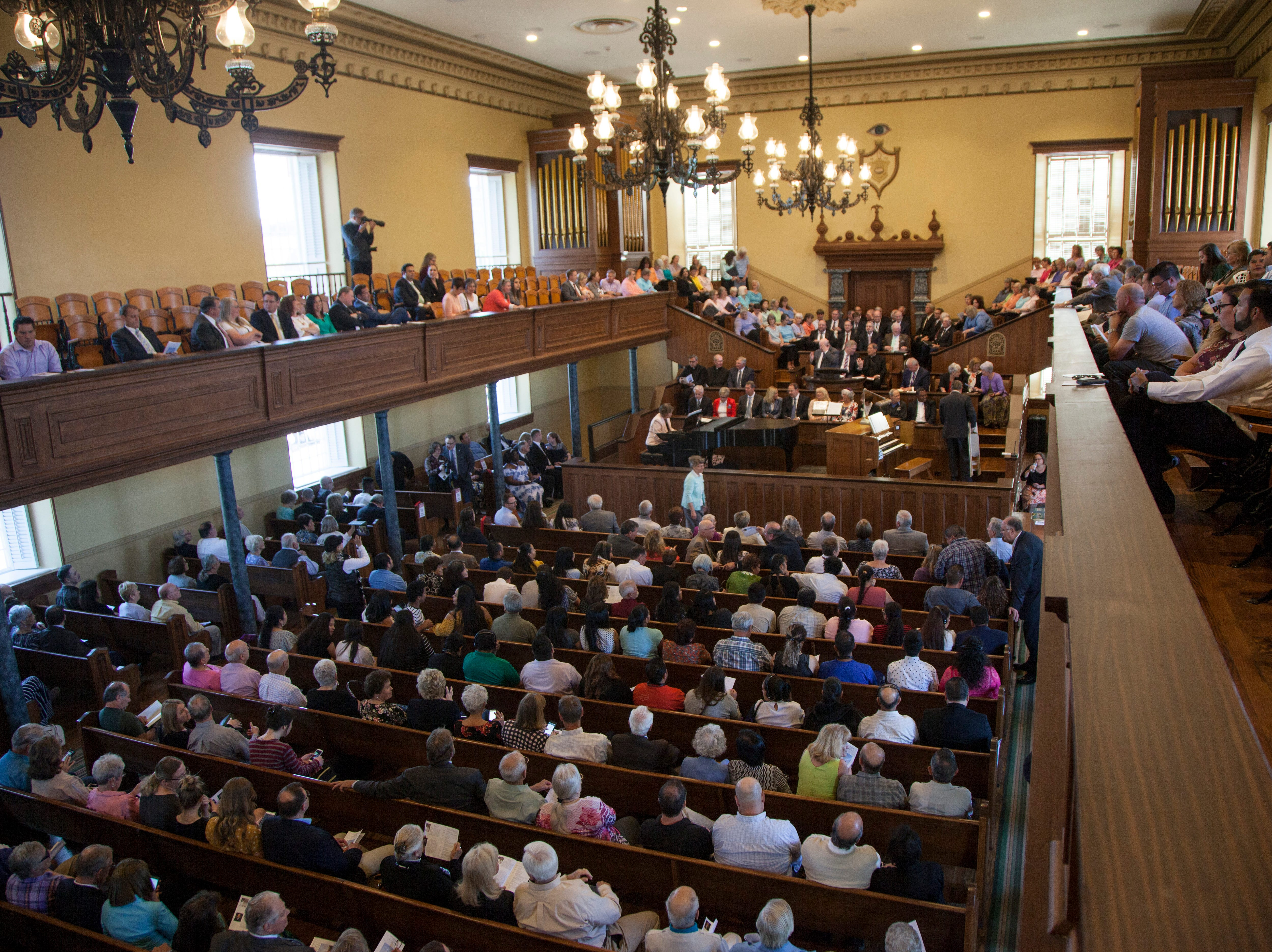 People from various faiths gather at the St. George Tabernacle for an interfaith tribute Thursday, May 2, 2019.