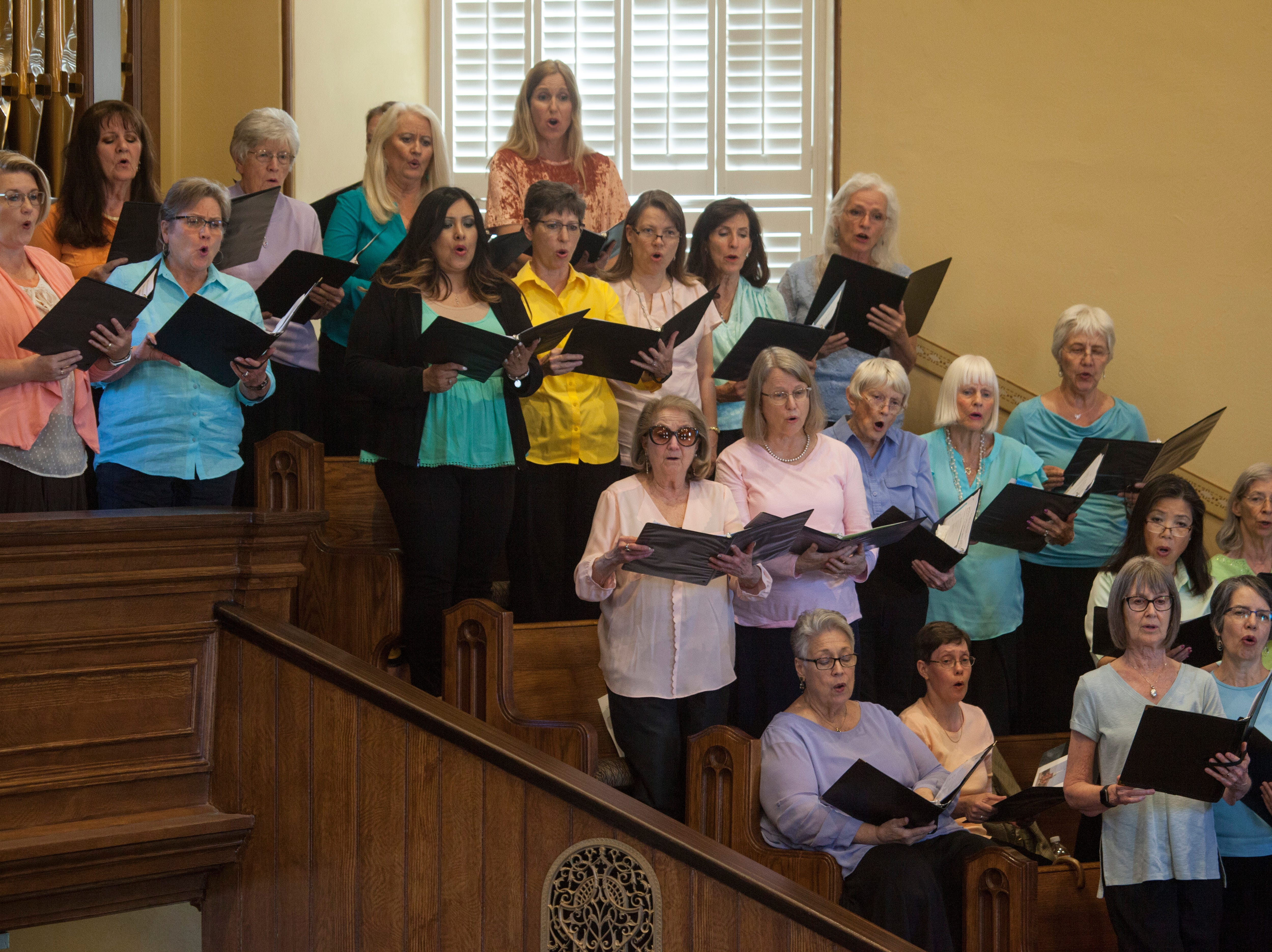 "An interfaith choir performs Mozart's ""Ave Vernum"" at the St. George Tabernacle for an interfaith tribute Thursday, May 2, 2019."