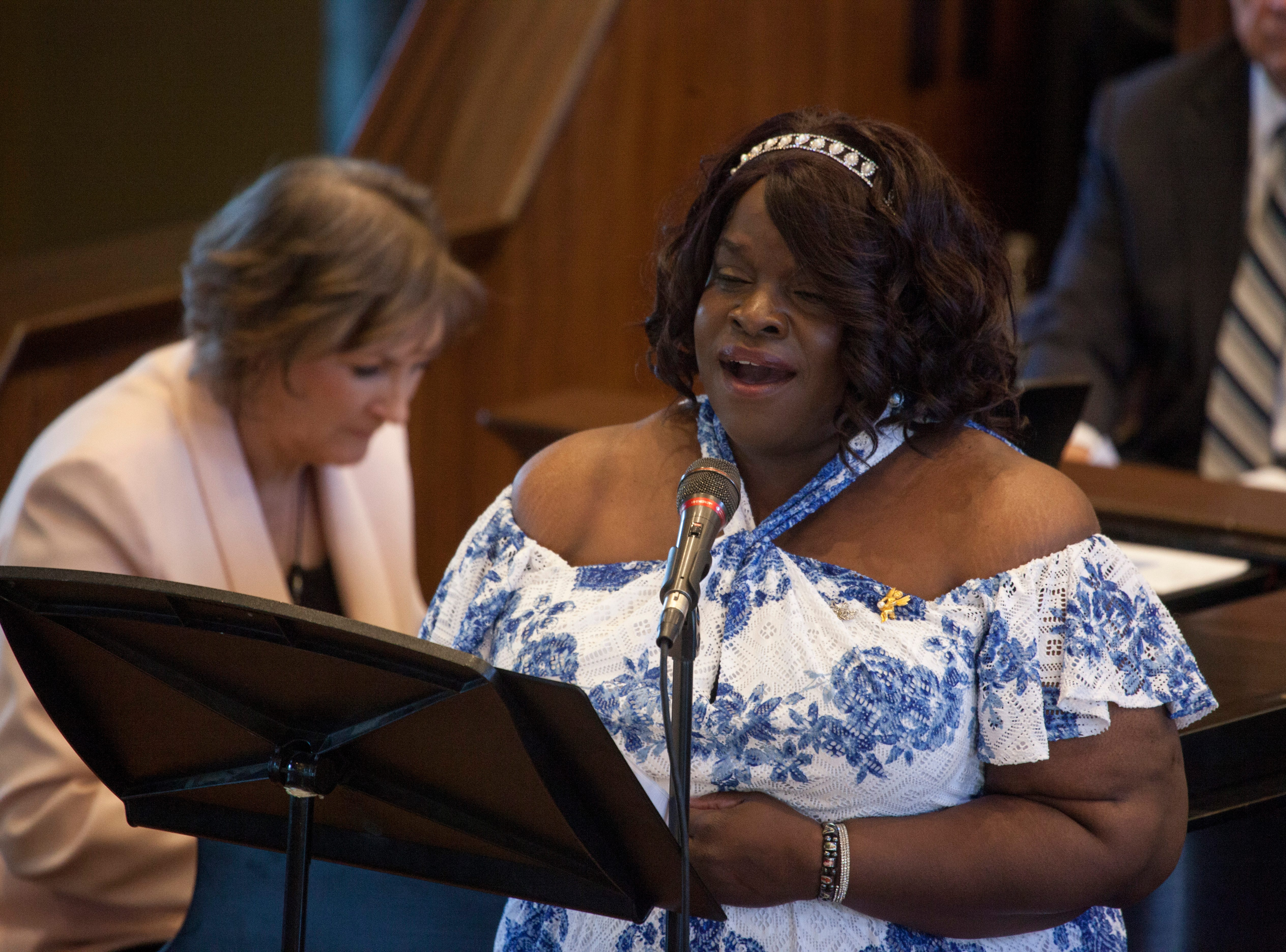 "Nedje Michelle Douyon sings ""Great is Thy Faithfulness"" at the St. George Tabernacle for an interfaith tribute Thursday, May 2, 2019."
