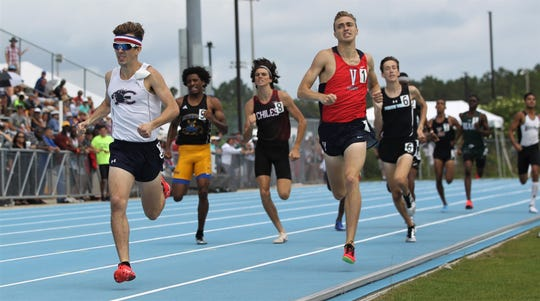 Estero senior Hugh Brittenham races to a state title in the Class 3A 800m run during the FHSAA Track & Field State Championships at Hodges Stadium on the campus of the University of North Florida, Day 1, Friday, May 3, 2019.