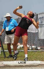 Florida High junior Jhordyn Stallworth throws shot put during the FHSAA Track & Field State Championships at Hodges Stadium on the campus of the University of North Florida, Day 1, Friday, May 3, 2019.