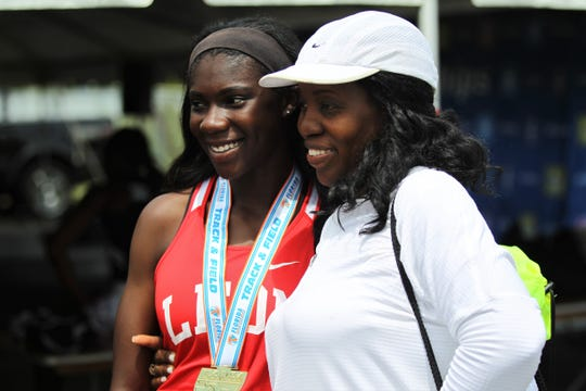 Leon junior Shania Cromartie captured a state title in Class 3A high jump during the FHSAA Track & Field State Championships at Hodges Stadium on the campus of the University of North Florida, Day 1, Friday, May 3, 2019.