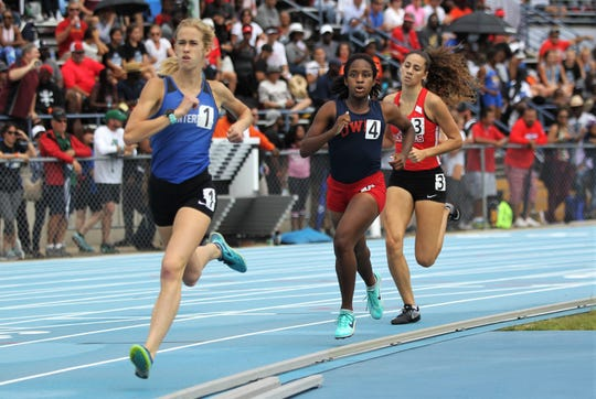 Canterbury sophomore Jessica Edwards races to a state title in the Class 3A 800m run during the FHSAA Track & Field State Championships at Hodges Stadium on the campus of the University of North Florida, Day 1, Friday, May 3, 2019.