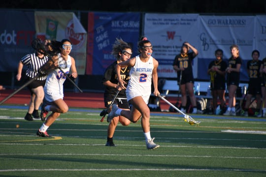 Westlake High junior Shelby Tilton sprints downfield against Newbury Park on Thursday in the U.S. Lacrosse-Southern Section Northern Division quarterfinals.