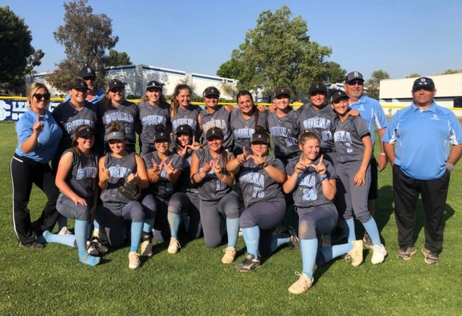 The Buena High softball team celebrates its 3-1 win at Saugus in the first round of the CIF-Southern Section Division 1 playoffs on Thursday.