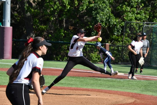 Oaks Christian senior Lexi Berg pitches against Camarillo in the first round of the CIF-Southern Section Division 1 playoffs in Westlake Village on Thursday. Oaks Christian won, 10-4.
