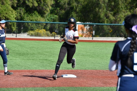 Oaks Christian senior Maya Brady rounds second after hitting her second home run against Camarillo in the first round of the CIF-Southern Section Division 1 playoffs in Westlake Village on Thursday. Oaks Christian won, 10-4.