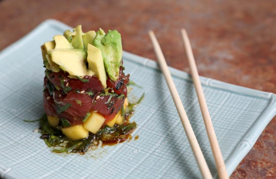 Yellowfin tuna poke with avocado mango and seaweed salad and soy vinaigrette at the Riverview restaurant in Cold Spring May 2, 2019.
