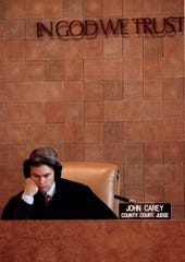 Judge John Carey listens to the recording of a police interview with accused murderer Carolyn Warmus in Westchester County Court in White Plains, N.Y., Jan. 29, 1991. Warmus is on trial for the murder of Betty Jeanne Solomon. Warmus was having an affair with Mrs. Solomon's husband at the time of the murder.