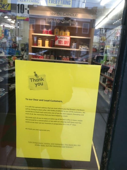 Letter informs customers that Brewer's hardware in Mamaroneck is closing July 3, 2019, after 140 years in business. The letter is seen May 3, 2019.