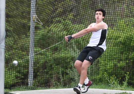 Valhalla's Noah Belmnahia competes in the hammer throw during day 1 of the Joe Wynne Somers Lions Club Track & Field Invitational at Somers High School in Somers on Friday, May 3, 2019.