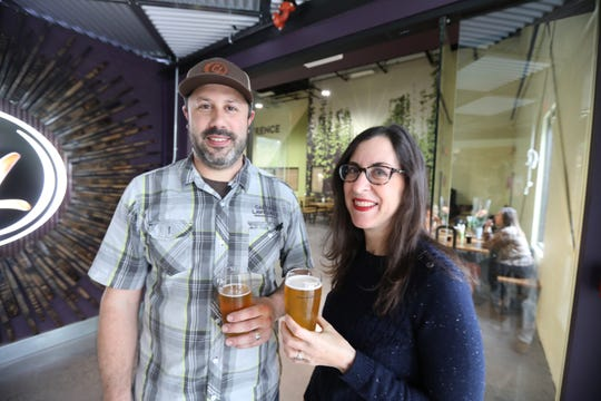 Scott Vaccaro owner of Captain Lawrence Brewery in Elmsford with lohud food reporter Jeanne Muchnick at the brewery's new beer hall May 1, 2019.