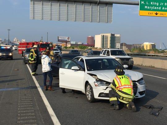 An I-95 south crash near Frawley Stadium in Wilmington slows rush-hour traffic  on Friday evening.