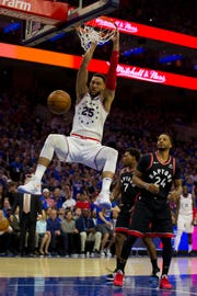 Ben Simmons #25 of the Philadelphia 76ers dunks the ball past Norman Powell #24 of the Toronto Raptors in the second quarter of Game Three of the Eastern Conference Semifinals at the Wells Fargo Center on May 2, 2019 in Philadelphia, Pennsylvania.