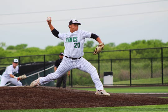 Iowa Park's Chris Dickens pitches against Sweetwater. Dickens struck out 10 batters.