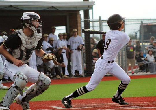 Rider's Brennen Campbell watches as the ball he hit goes foul.