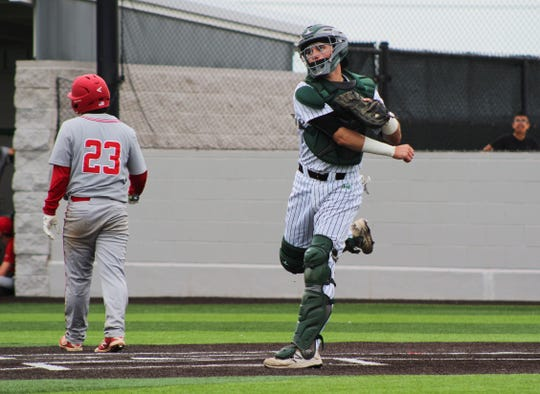 Iowa Park catcher Kaden Teafatiller throws the ball infield against Sweetwater Thursday, May 2nd, 2019 at home.